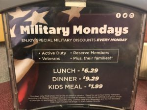 Military Mondays (Active Duty, Veterans, Reserve Members, Plus their families!) @ all area Ryan's restaurants